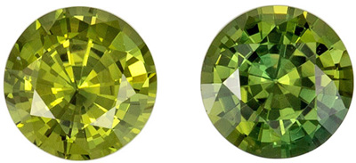 Bright & Lively Sapphire Matched Pair, 1.17 carats, Yellowish Lime Green, Round Cut, 4.9 mm