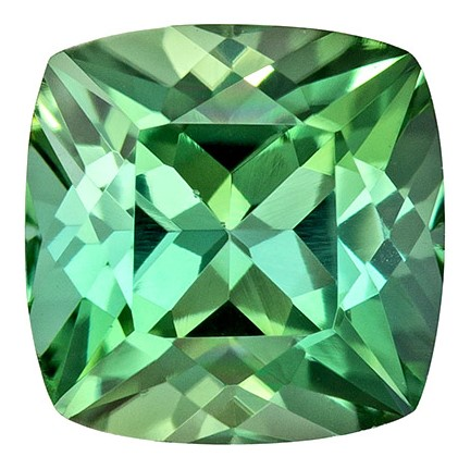 Fiery Minty Green 1.19 Carat Beautiful Blue Green Tourmaline Cushion Gemstone in 6.1mm Size