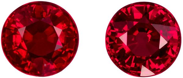 1.19 carats Bargain Pigeon Blood Red Rubies in Matched Pair, Pure Red Color in 4.7 mm - SOLD