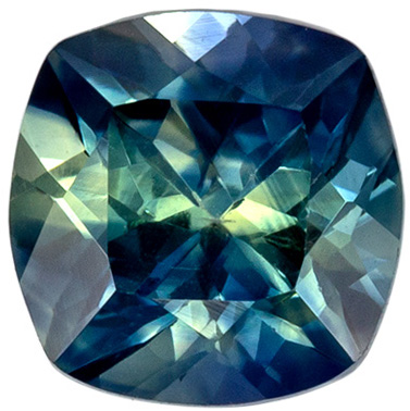 Highly Requested Sapphire Natural Gem, 1.2 carats, Teal Blue Green, Cushion Cut, 5.9 mm