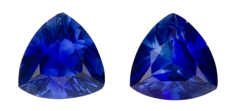 Special  Blue Sapphire Gemstone Matched Pair,  1.2 carats, Trillion Cut, 5.5   mm