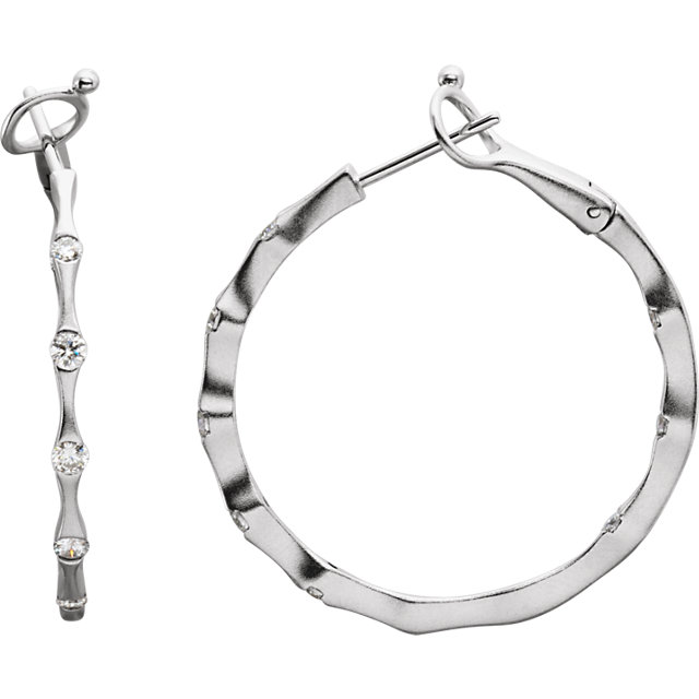 Great Deal in 14 Karat White Gold 0.50 Carat Total Weight Diamond Inside/Outside Hoop Earrings