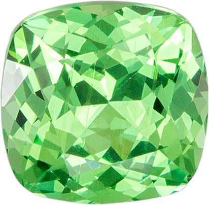 1.2 carats Green Garnet Loose Gemstone in Cushion Cut, Open Mint Green, 6.1 x 6 mm