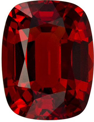 1.2 carats Red Spinel Loose Gemstone in Cushion Cut, Vivid Rich Red, 7.2 x 5.5 mm