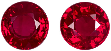 1.2 carats Ruby Matched Gemstone Pair in Round Cut, Rich Red, 4.9 mm
