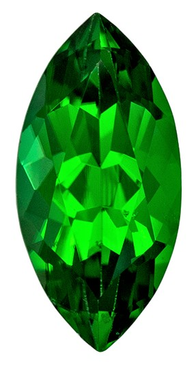 Stunning Green Tourmaline Genuine Gem, 1.2 carats, Marquise Cut, 10.5 x 5  mm , Gemmy Low Cost Stone