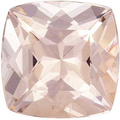 Bright & Lively Morganite Loose Gem Cushion Cut, Medium Peach Pink, 6.9 mm, 1.2 carats