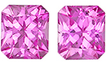 1.21 carats Pink Sapphire Matched Gemstone in Pair in Radiant Cut, Bubble Gum Pink, 5 x 4.4 mm