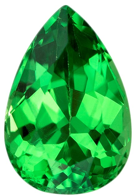 1.22 carats Tsavorite Loose Gemstone in Pear Cut, Vivid Rich Green, 7.9 x 5.3 mm