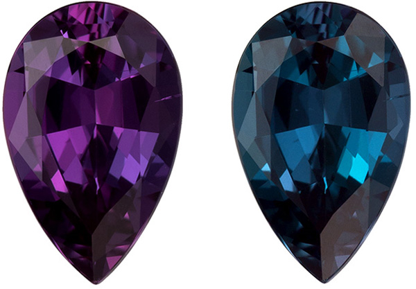 1.23 carat Perfect Gubelin Certified Alexandrite Pear Cut Gemstone, Vivid Blue Green to Eggplant Burgundy, 8.7 x 6.0 mm, 1.23 carats