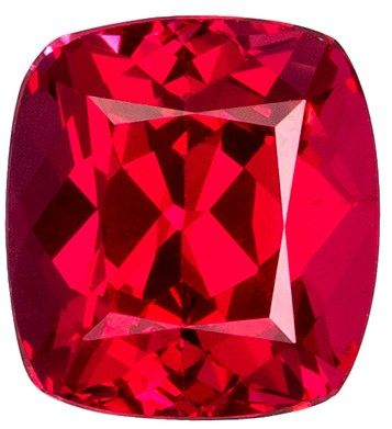 1.23 carats Vivid Red Spinel Loose Gemstone in Cushion Cut, Medium Red, 6.0 x 5.5 mm