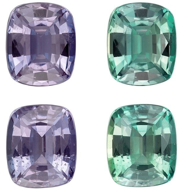Loose Color Change Alexandrite Gemstones Matched Pair, 1.23 carats, Cushion Cut, 5.3 x 4.4 mm, A Great Find On This Gem