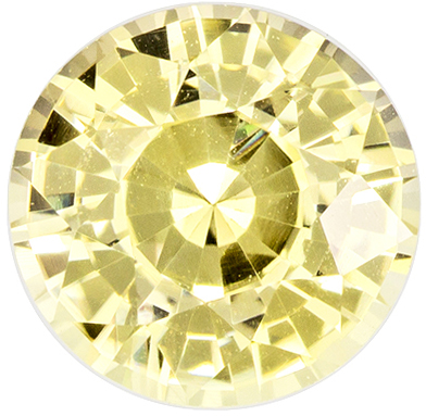 1.24 carats - GIA Certified Round Cut Yellow Sapphire Loose No Heat Gem, Light Yellow, 6.3 mm