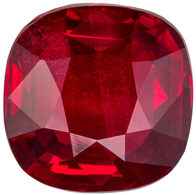 Lovely Rare No Heat GIA Certified Ruby Loose Gem, 1.24 carats, Rich Pigeons Blood Red, Cushion Cut, 6.42 x 6.4 x 3.04 mm
