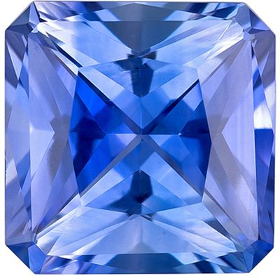 Bright & Lively Blue Sapphire Genuine Loose Gemstone in Radiant Cut, 1.25 carats, Cornflower Blue, 6 x 6 mm