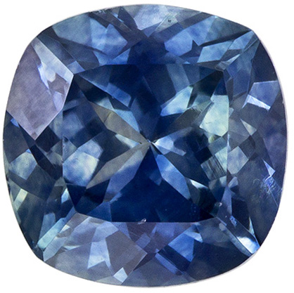 1.25 carats Montana Origin Cushion Cut Blue Green Sapphire Loose Gem, Medium Rich Blue, 6.0 mm Size
