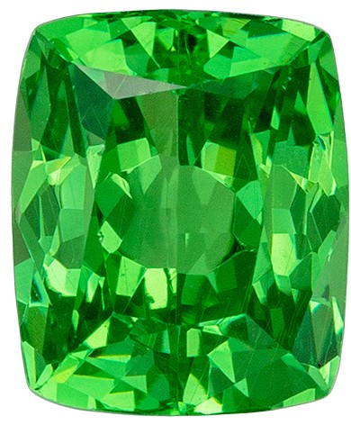 Vivid Green Mint Garnet Genuine Gem, 1.26 carats, Cushion Cut, 6.1 x 5.1  mm , Super Fine Stone