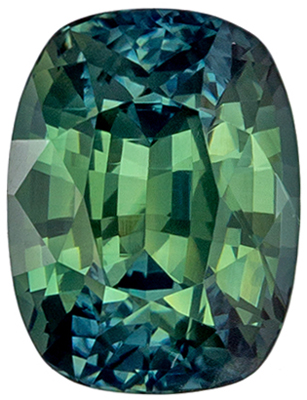 Nice Looking GIA Certified Sapphire Loose Gem 1.27 carats, Cushion Cut, Medium Blue Green, 6.57 x 5 x 4.21 mm