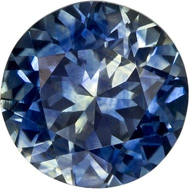 1.27 carats Brilliant Round Blue Green Sapphire Loose Gem, Rich Blue, 6.4 mm Size