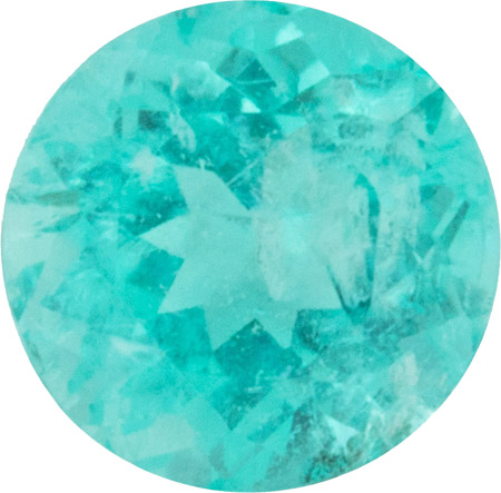 1.28 carats Blue Green Color Paraiba Tourmaline Loose Gem in Round Cut, 6.8 x 6.7mm