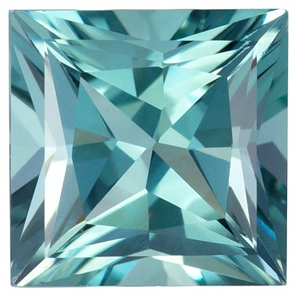 1.28 carats Blue Tourmaline Loose Gemstone in Princess Cut, Sea Foam Blue, 6.3 mm
