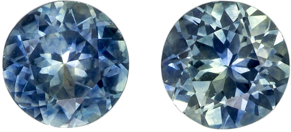 1.29 carats Pair of Blue Green Montana Sapphire in Round Cut, Teal Blue Green, 5.0 mm