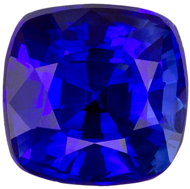 Gemmy Sapphire Quality Gem, 1.3 carats, Rich Royal Blue, Cushion Cut, 5.9 x 5.8mm