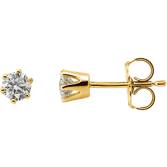Beautiful 1/3 Carat Total Weight Round Genuine Diamond Friction Post Stud Earrings