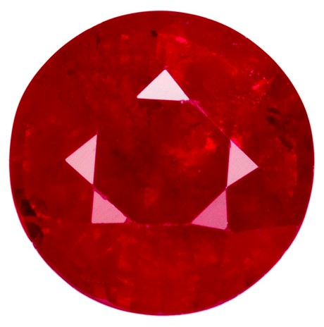 1.3 carats Ruby Loose Gemstone in Round Cut, Rich Red, 6.4 mm