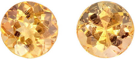 Faceted 1.3 carat Precious Topaz Gemstones in Matched Pair in Round Cut 5.1 mm