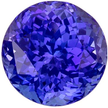 Glamourous 1.31 carats Blue Purple Tanzanite Round Genuine Gemstone, 6.3 mm