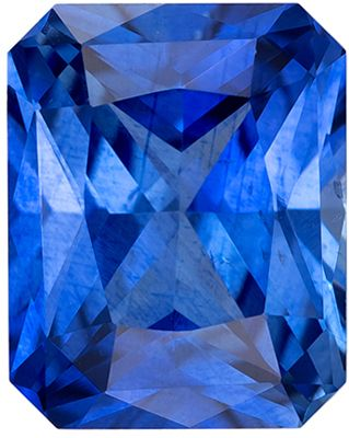 Very Attractive Blue Sapphire Genuine Loose Gemstone in Radiant Cut, 1.31 carats, Medium Rich Blue, 6.8 x 5.4 mm
