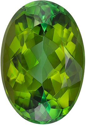 Attractive Green Tourmaline Genuine Loose Gemstone in Oval Cut, 1.31 carats, Yellow Tinged Green, 8.3 x 5.7 mm