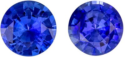 Highly Requested Blue Sapphire Well Matched Gemstone Pair Round Cut, Vivid Rich Blue, 5.4 mm, 1.32 carats