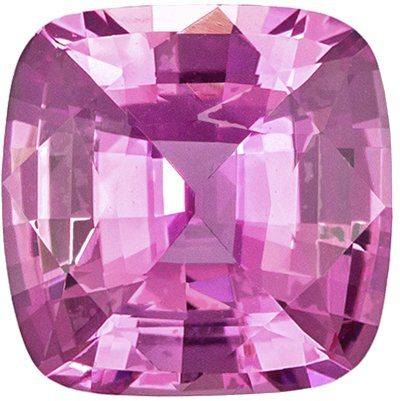 1.32 Carats Cushion Cut Pink Sapphire Loose Gem, GIA Certed No Heat, 6.7 x 6.6 mm
