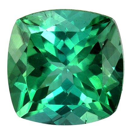 Natural Blue Green Tourmaline Gemstone, Cushion Cut, 1.33 carats, 6.4 mm , AfricaGems Certified - A Great Buy