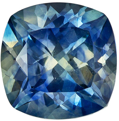 Fiery Montana Origin Blue Green Sapphire Gem in Beautiful Bluish Green Teal Color, 1.34 Carats Cushion Cut, 6.1mm Size