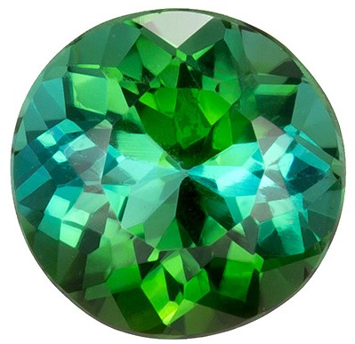 1.35 carats Green Tourmaline Loose Gemstone in Round Cut, Rich Grass Green, 6.8 mm