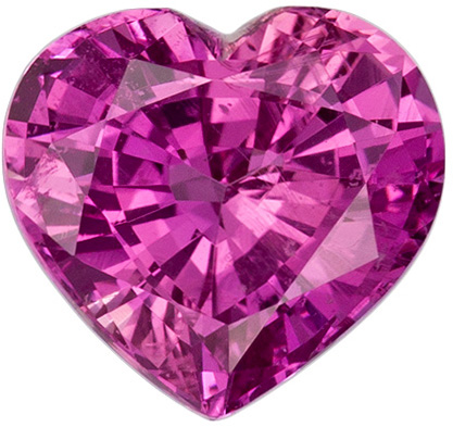 1.35 carats Pink Sapphire Loose Gemstone in Heart Cut, Rich Pink, 6.7 x 6.3 mm