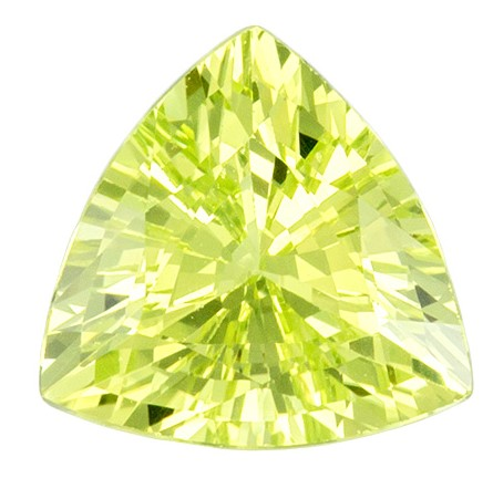 1.35 carats Yellow Chrysoberyl Loose Gemstone in Trillion Cut, Neon Lemon Yellow, 7.1 mm