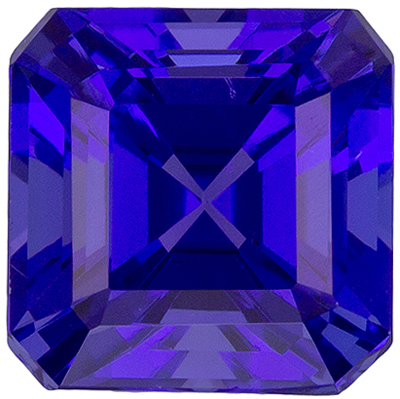 Gorgeous Asscher Tanzanite in 1.36 carat in Intense Blue Purple Color in 5.9mm Size