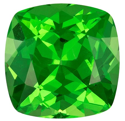 1.36 carats Tsavorite Loose Gemstone in Cushion Cut, Medium Grass Green, 6.1 mm