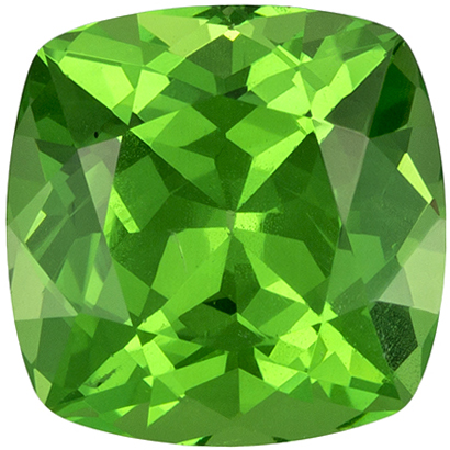 1.36 carats Tsavorite Loose Gemstone Cushion Cut, Medium Grass Green, 6.1 mm