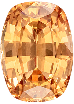Wonderful No Heat Cushion Cut Peach Sapphire Gem, 7.25 x 5.28 x 3.85 mm, Vivid Orangy Peach Color, 1.36 carats, GIA Certified