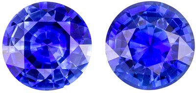 Lovely Blue Sapphire Well Matched Gemstone Pair 1.37 carats, Round Cut, Vivid Rich Blue, 5.4 mm