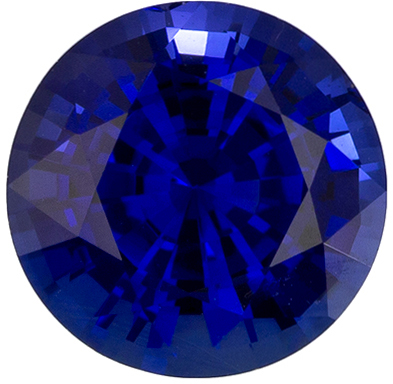 1.37 carats Blue Sapphire Loose Gemstone in Round Cut, Intense Blue, 6.6 mm