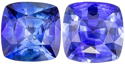 Excellent Blue Sapphire Well Matched Gemstone Pair Cushion Cut, Rich Cornflower Blue, 5 mm, 1.38 carats