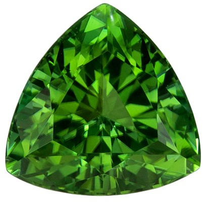 Genuine Green Tourmaline 1.38 carats, Trillion shape gemstone, 7  mm
