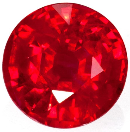 1.38 carats Ruby Loose Gemstone in Round Cut, Vivid Red, 6.6 mm