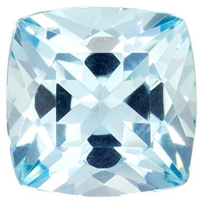1.39 carats Aquamarine Loose Gemstone in Cushion Cut, Medium Blue, 7 mm